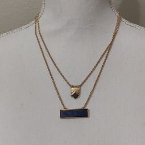 Blue and gold necklace adjustable